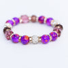 Purple Marble/Gold/White Bling Beaded Stretch Bracelet - BRC2748PU