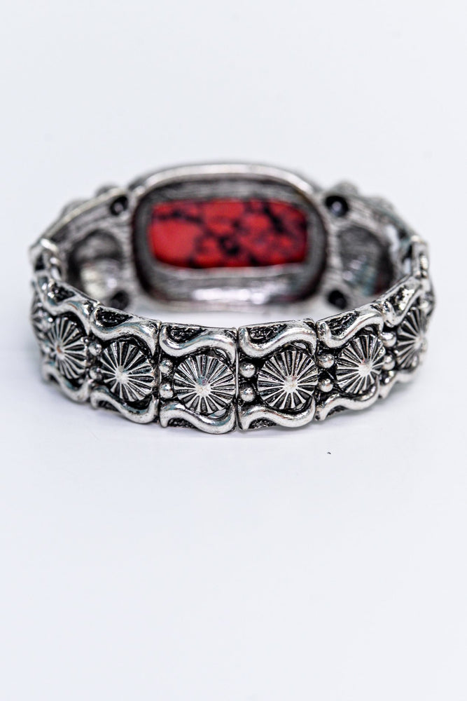 Red Marble/Silver/Black Ornate Stretch Bracelet - BRC2764RD