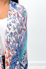 Paradise Is Calling Navy/Multi Color/Pattern High-Low Kimono (One Size 4-20) - O2579NV