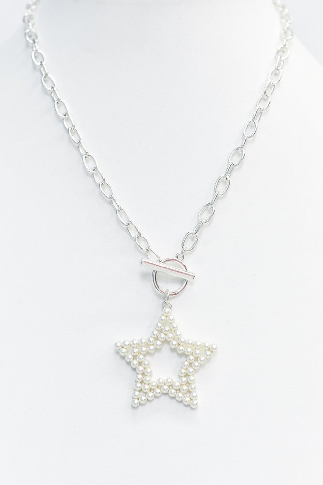 Silver/Pearl Cut Out Star Pendant Necklace - NEK3463SI