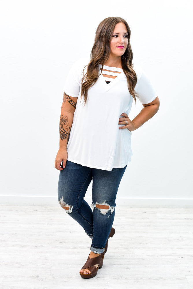 Embrace The Fun White Solid V Neck Top - B8983WH