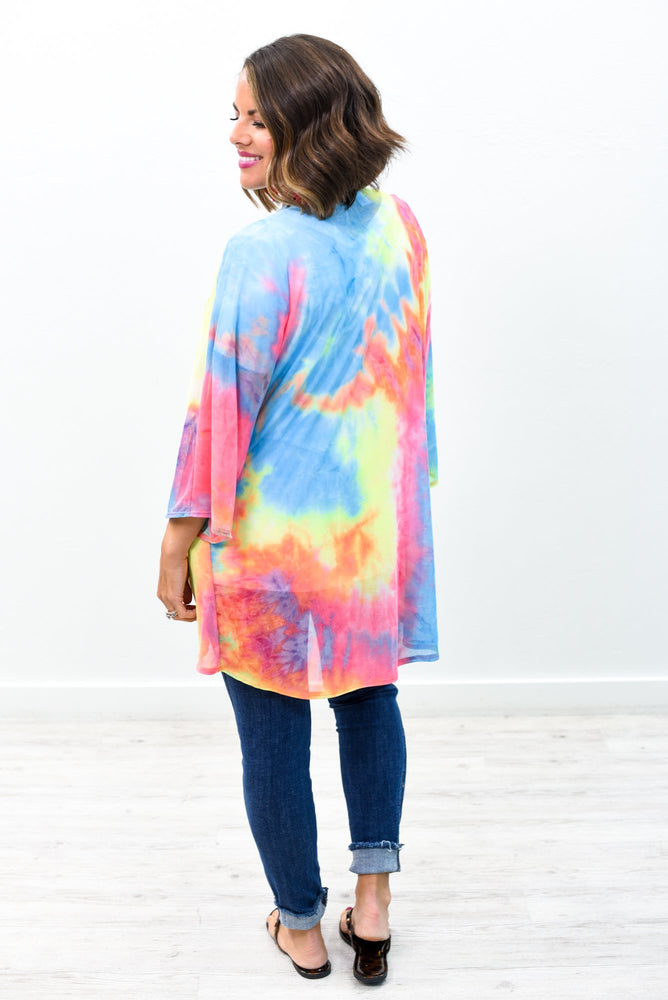 Stay True To Yourself Lime Green/Multi Color Tie Dye Sheer Kimono - O2583LGN