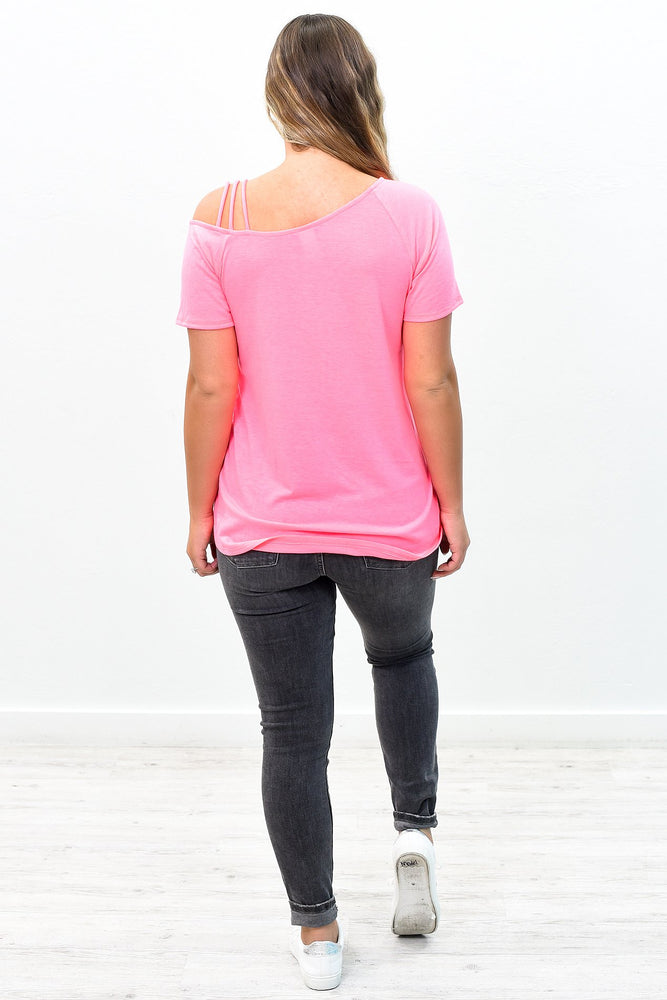Fun Is Beautiful Neon Pink Open Shoulder Top - B8986NPK