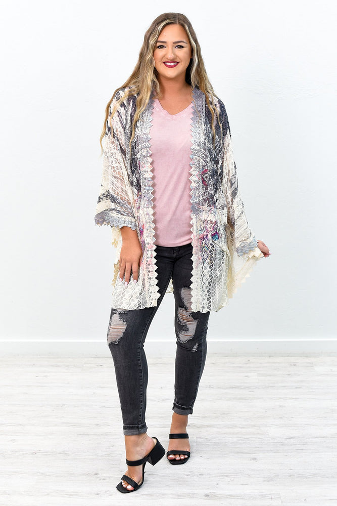 She's A Catch Beige Dream Catcher Printed Lace Sheer Kimono (One Size 4-16)- O2581BG