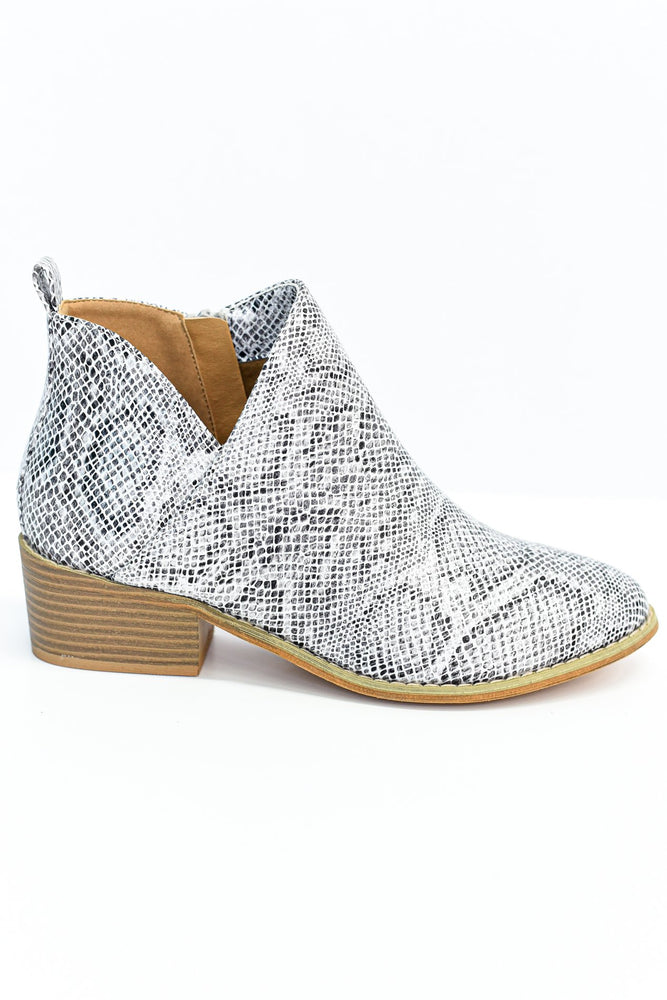 The Show Stopper White Snakeskin Booties - SHO1852WH