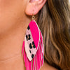 Pink Leopard Layered Leather Feathered Earrings - EAR2993PK