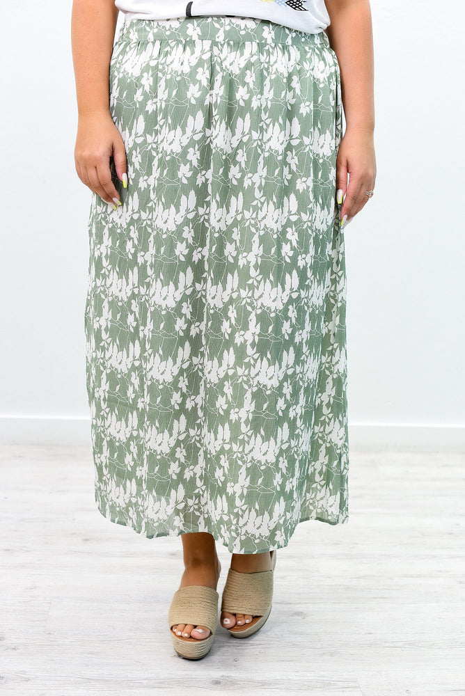 All Eyes On Me Sage/Ivory Printed Skirt - E1057SG