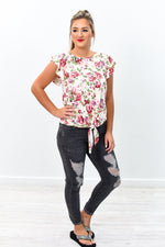 Grow All Out Cream Floral Front Knot Top - B8993CR