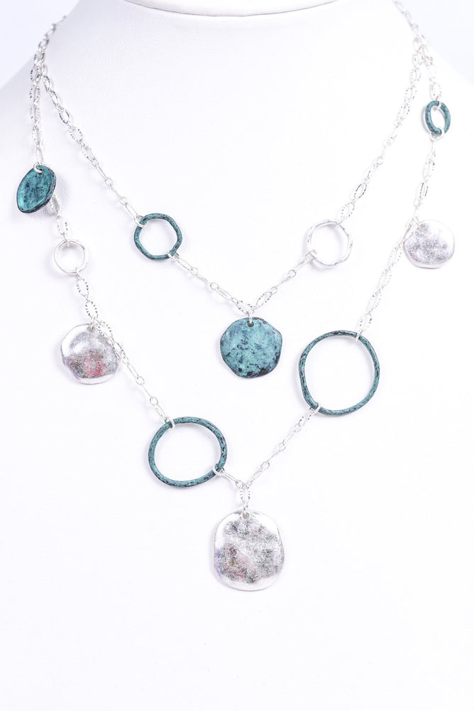 Silver Hammered/Patina Ring/Circle Chain Necklace - NEK3470SI