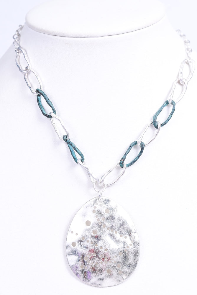 Silver Hammered Pendant/Patina/Silver Chain Necklace - NEK3468SI