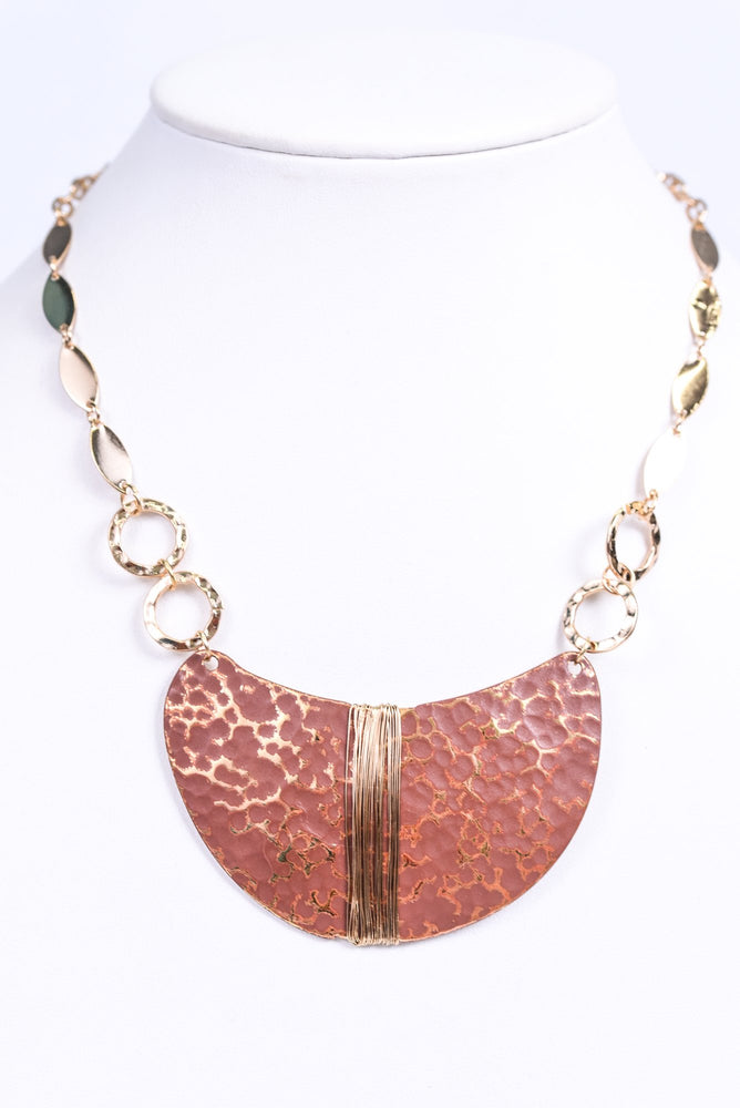 Gold/Brown Textured Wire Wrapped Pendant Necklace - NEK3471GO