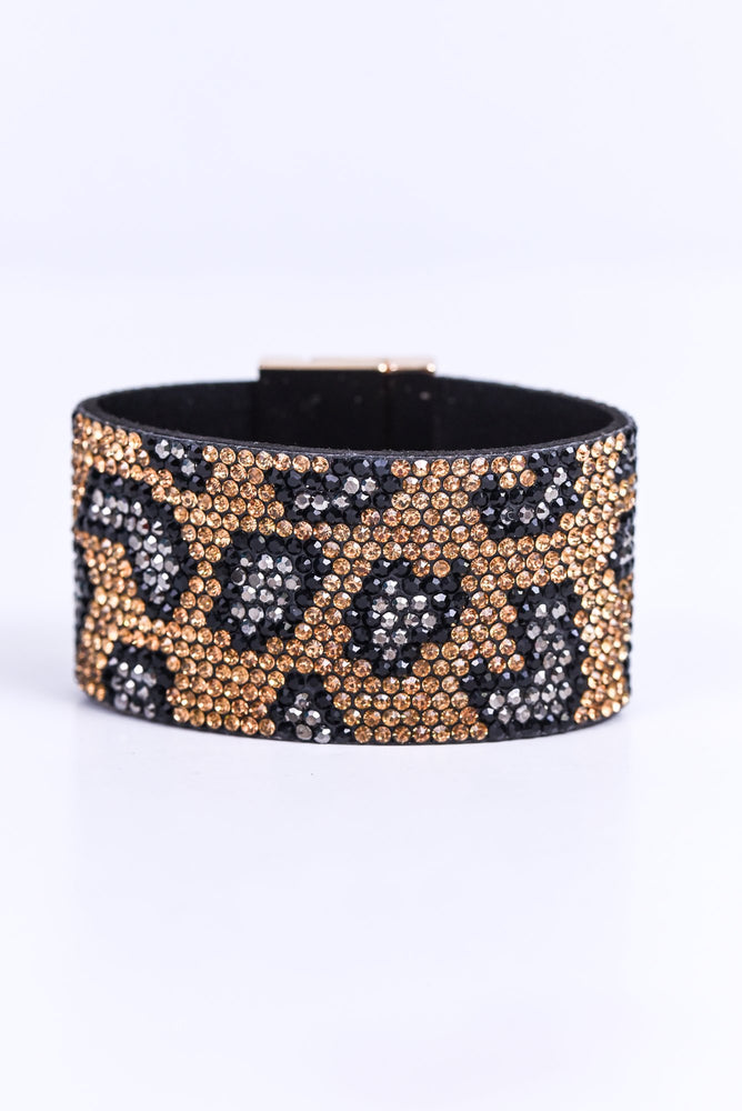 Brown Leopard Bling Turn Lock Closure Bracelet - BRC2119BR