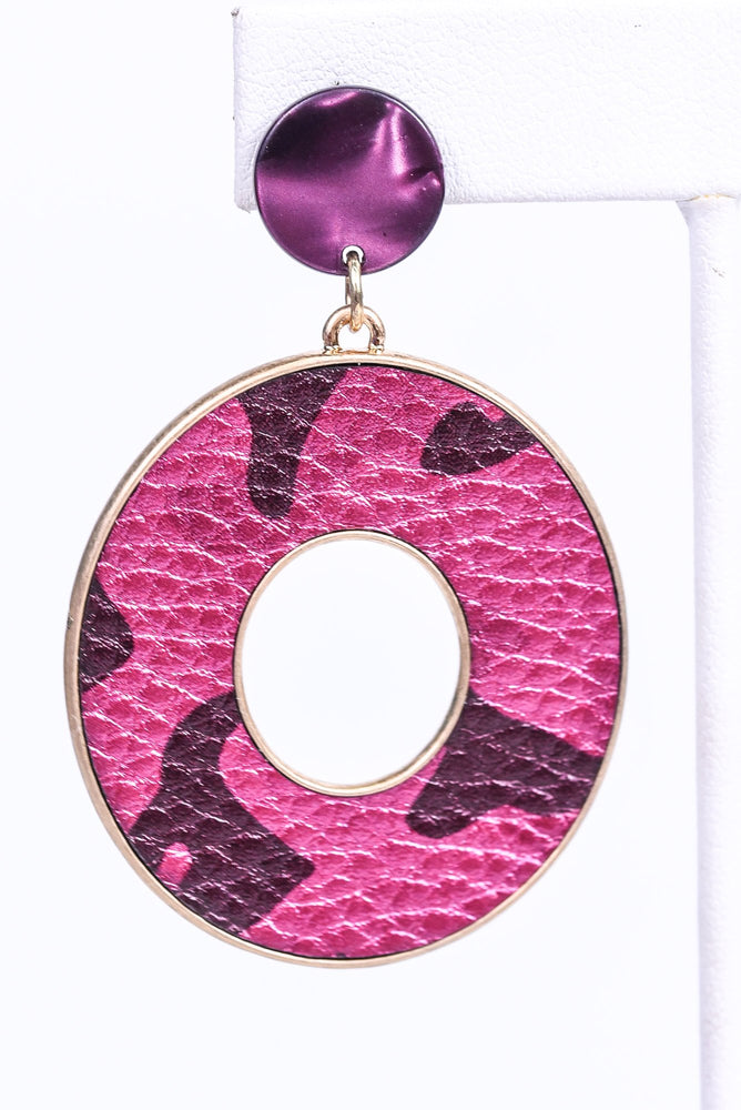 Fuchsia/Gold Camouflage Circle Drop Earrings - EAR3001FU