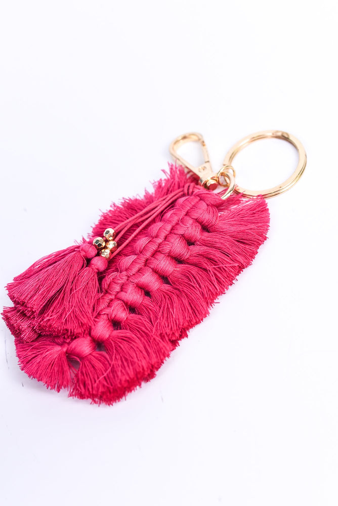 Fuchsia Braided Thread Feathered Tassel Keychain - KEY1101FU