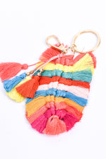 Multi Color Braided Thread Feathered Tassel Keychain - KEY1100MU