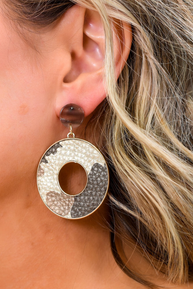 Brown/Gold Camouflage Circle Drop Earrings - EAR3002BR