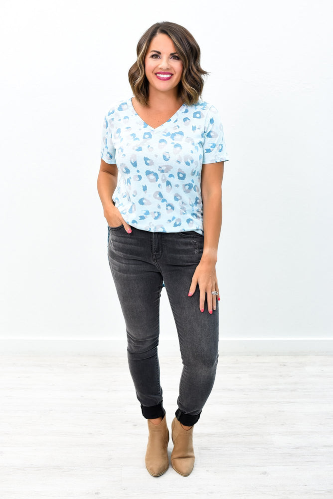 Chasing After You Baby Blue Leopard V Neck Top - B9014BL