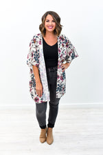 Uncharted Hearts Cream/Multi Color Floral Kimono - O2596CR