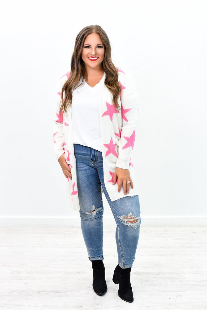 Count Your Lucky Stars Ivory/Pink Star Printed Cardigan - O2595IV