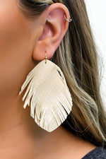Beige Snakeskin/Gold Feathered Earrings - EAR3016BG