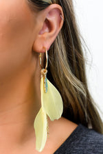 Yellow/Gold Feather Hoop Multi Charm Earrings - EAR3013YE