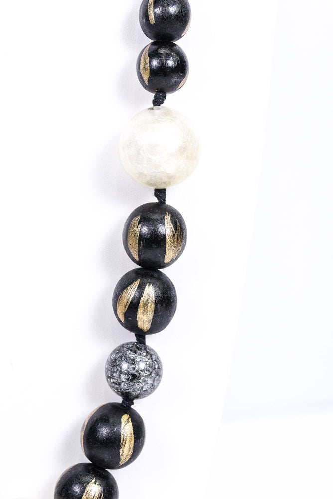 Black/Gold/Ivory/Clear Beaded Statement Necklace - NEK3478BK