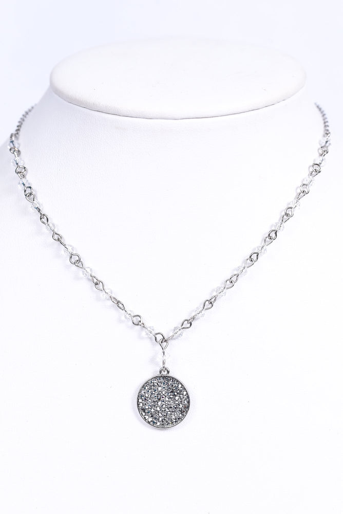 Silver Bling Round Pendant/Beaded Chain Necklace - NEK3475SI