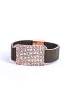 Rose Gold/Bling/Brown Leather Magnetic Closure Bracelet - BRC2796RG