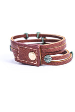 Dark Tan Leather Multi Strand/Patina/Bling Beaded Snap Closure Bracelet - BRC2794DTN