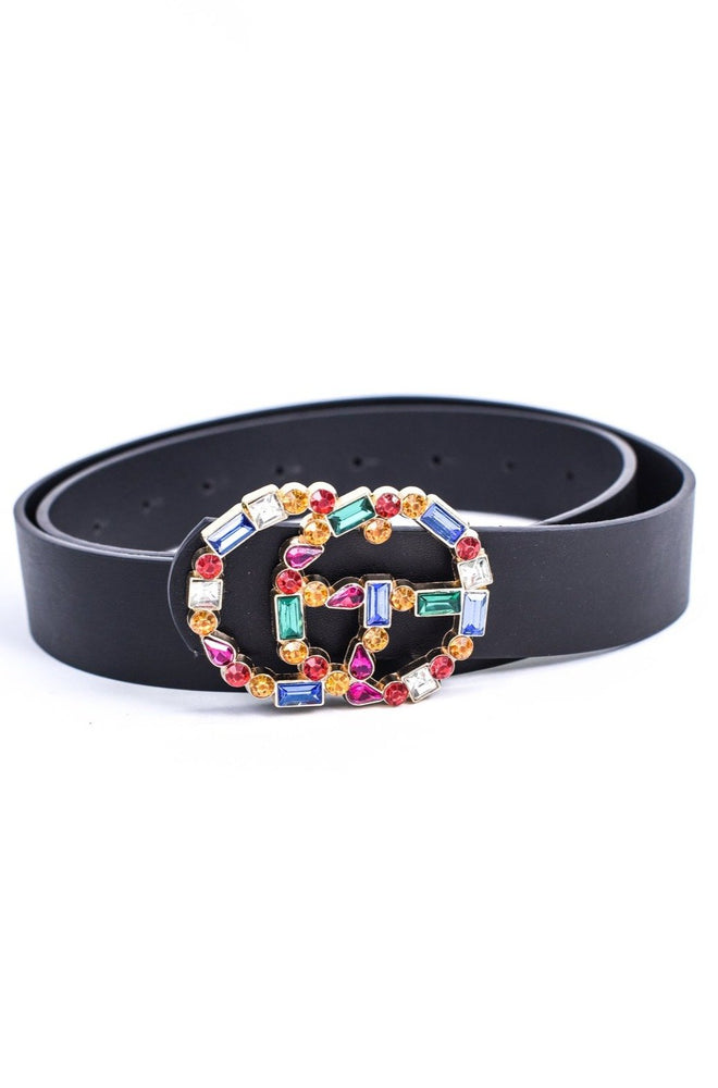 Black/Multi Color Bling Belt - BLT1101BK