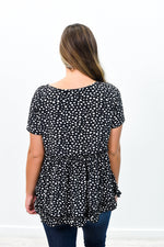 Falling In Love With You Black/Ivory Dalmatian Printed High-Low Top - B9024BK