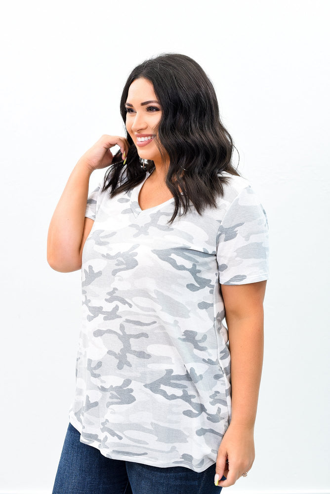 Running Away With You Gray Camouflage V Neck Top - B9027GR