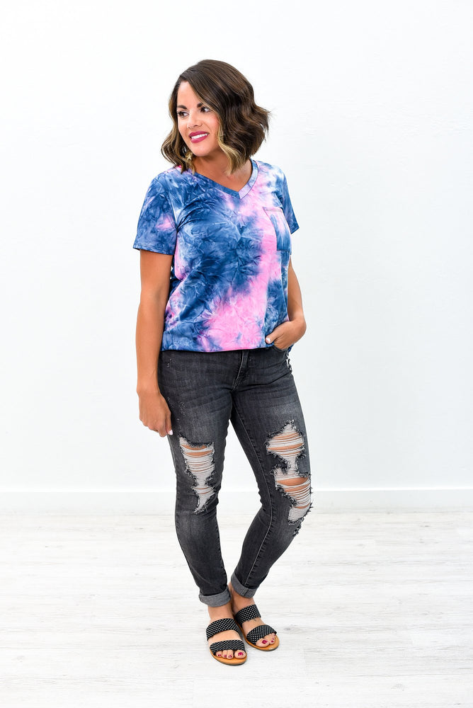 Day Dreaming About You Pink/Navy Tie Dye V Neck Top - B9041PK