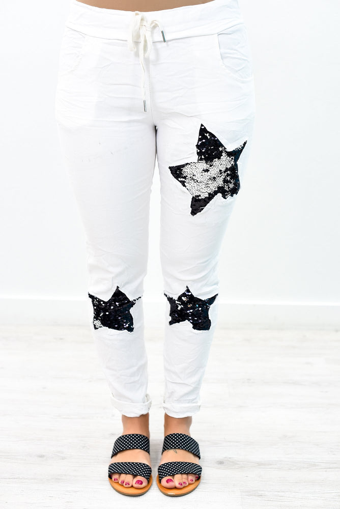 Star Of The Show Ivory/Black Star/Sequins Pants - PNT1137IV