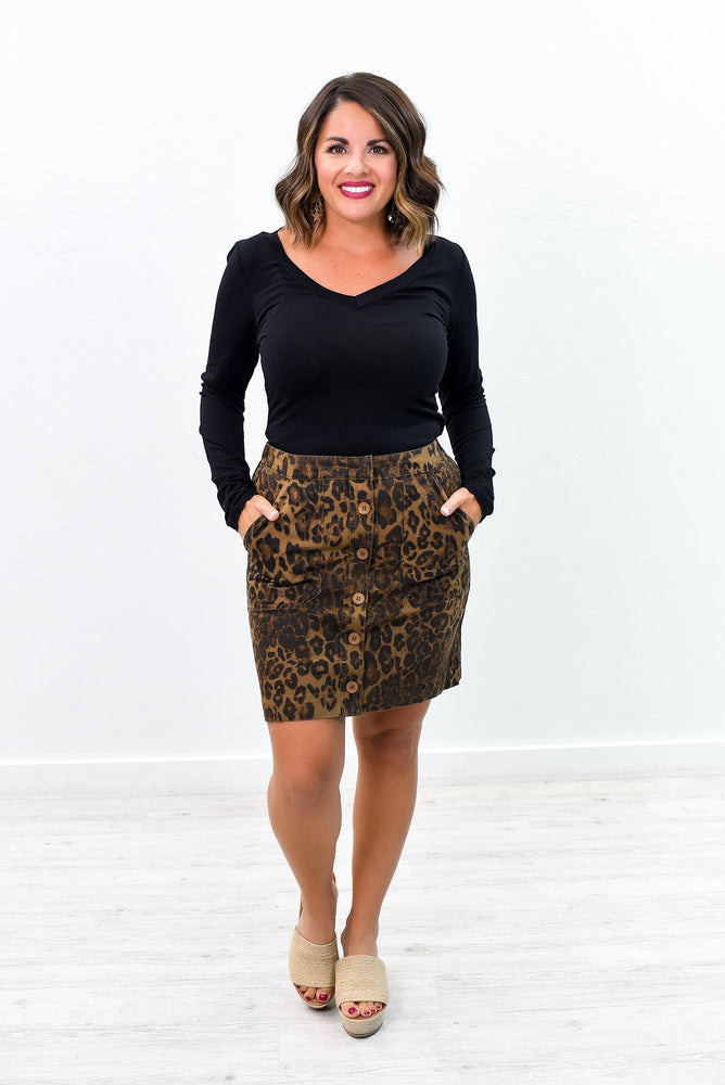 Newest Obsession Brown Leopard Skirt - E1058BR
