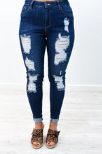 Somewhere With You Dark Denim Distressed Jeans - K482DN