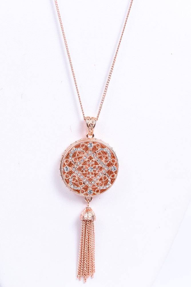 Rose Gold Bling Round Tassel Pendant Necklace - NEK3489RG