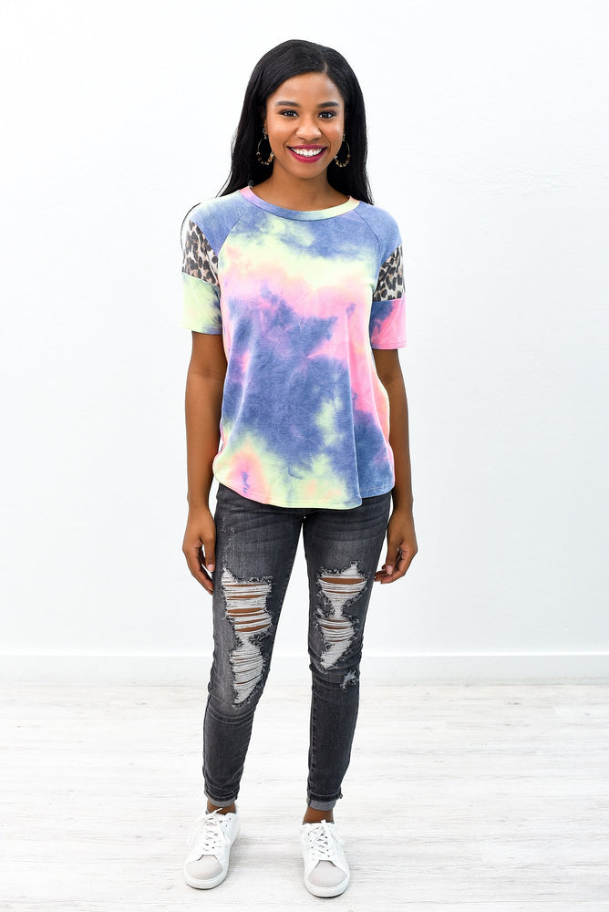 Look On The Bright Side Purple/Multi Color Tie Dye/Leopard Top - B9078PU