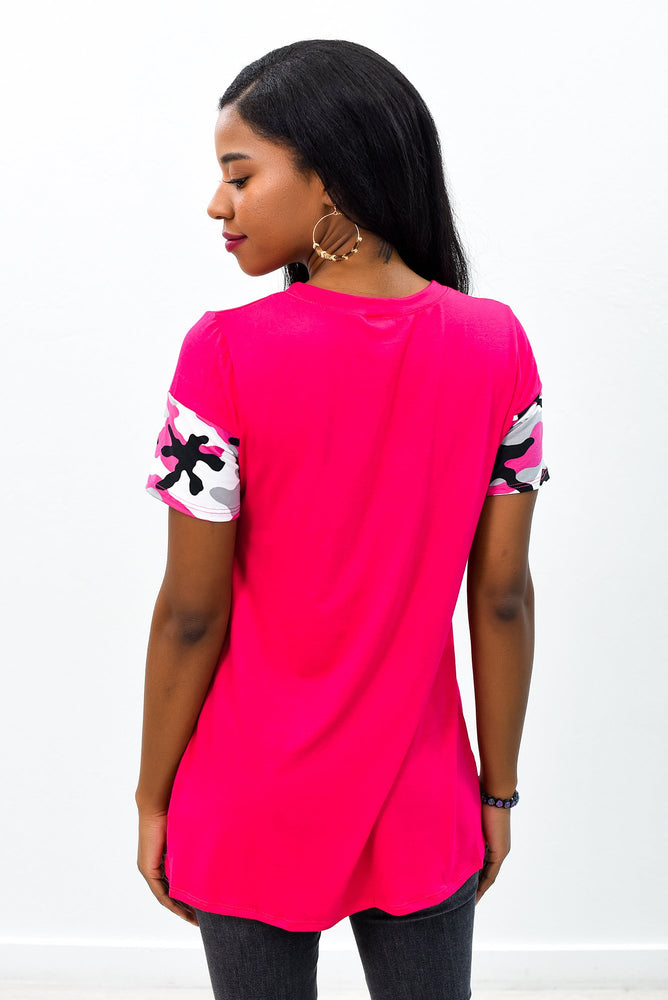 Lost In My Dreams Fuchsia Camouflage Top - B9079FU