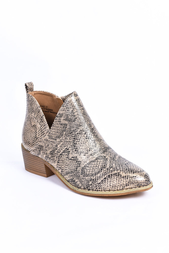 The Show Stopper Tan Snakeskin Booties - SHO1864TN
