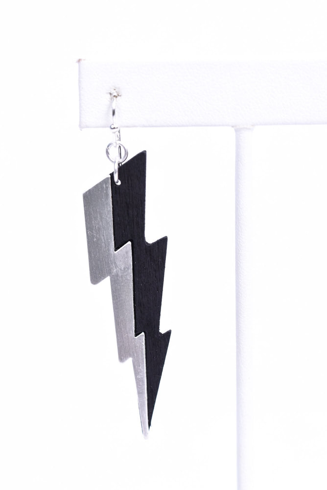 Black/Silver Lightning Bolt Drop Earrings - EAR3027BK