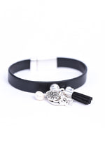 Silver Multi Charm/Black Leather Band Magnetic Closure Bracelet - BRC2812SI