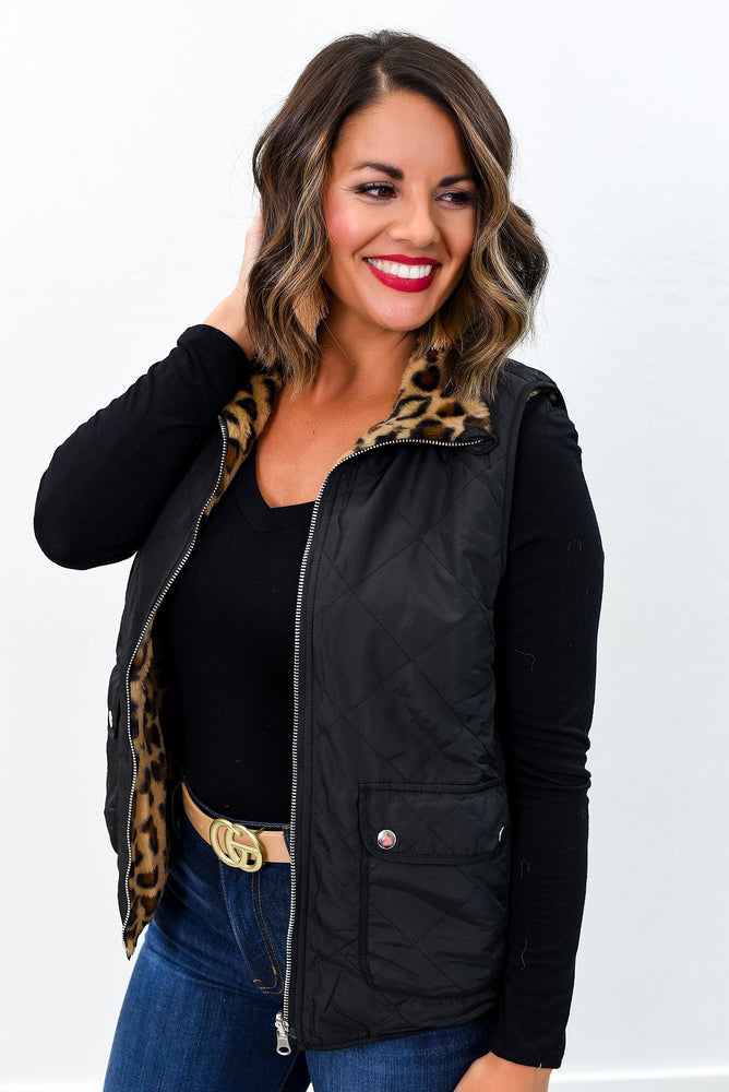 Believe The Hype Black Leopard Vest - O2629BK