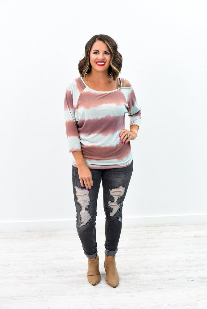 In A Daze Mauve/Multi Color Open Shoulder Top - B9157MV