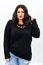 Simply Casual Black Solid Caged Front Long Sleeve Tunic - B9215BK