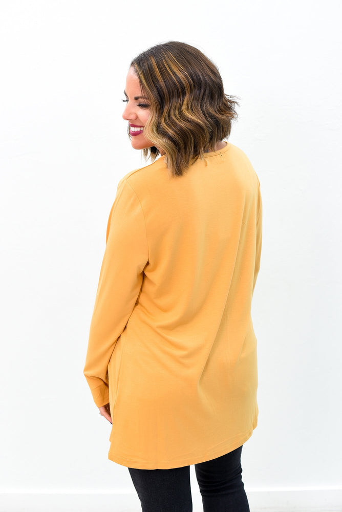 Simply Casual Mustard Solid Caged Front Long Sleeve Tunic - B9216MS