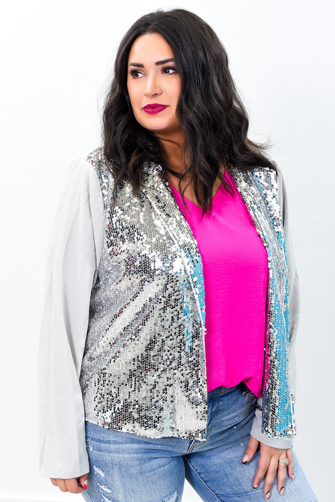 Shining Night Silver Sequins Jacket - O2644SI