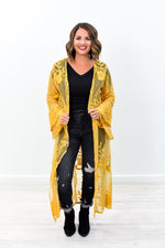 Hypnotizing You Mustard Embroidered/Lace Duster - O2648MS