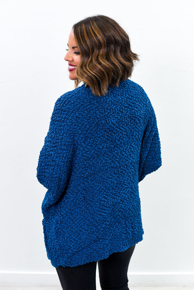 All Warm And Fuzzy Blue Popcorn Cardigan - O2652BL