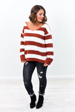 Feeling Kinda Chilly Burgundy/Ivory Striped V Neck Sweater Top - B9234BU